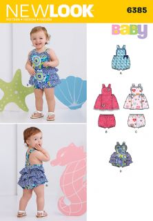 6385 New Look Pattern: Babies' Dress, Romper and Pants
